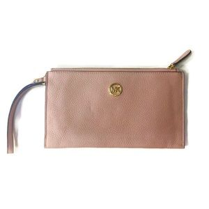Michael Kors Pale Pink Pebbled Leather Clutch